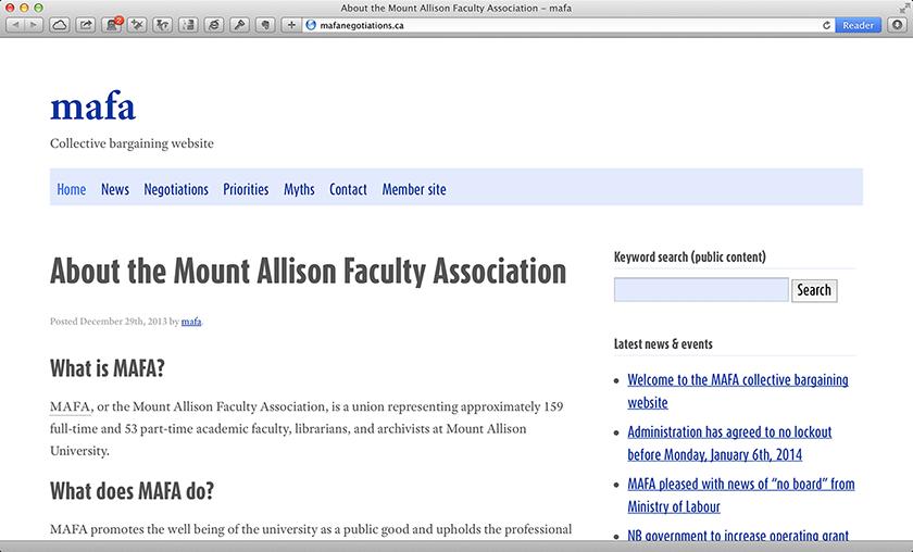 MAFA website [desktop screenshot]