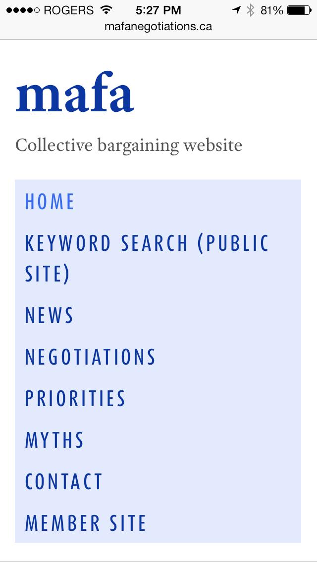 MAFA website [smartphone screenshot]