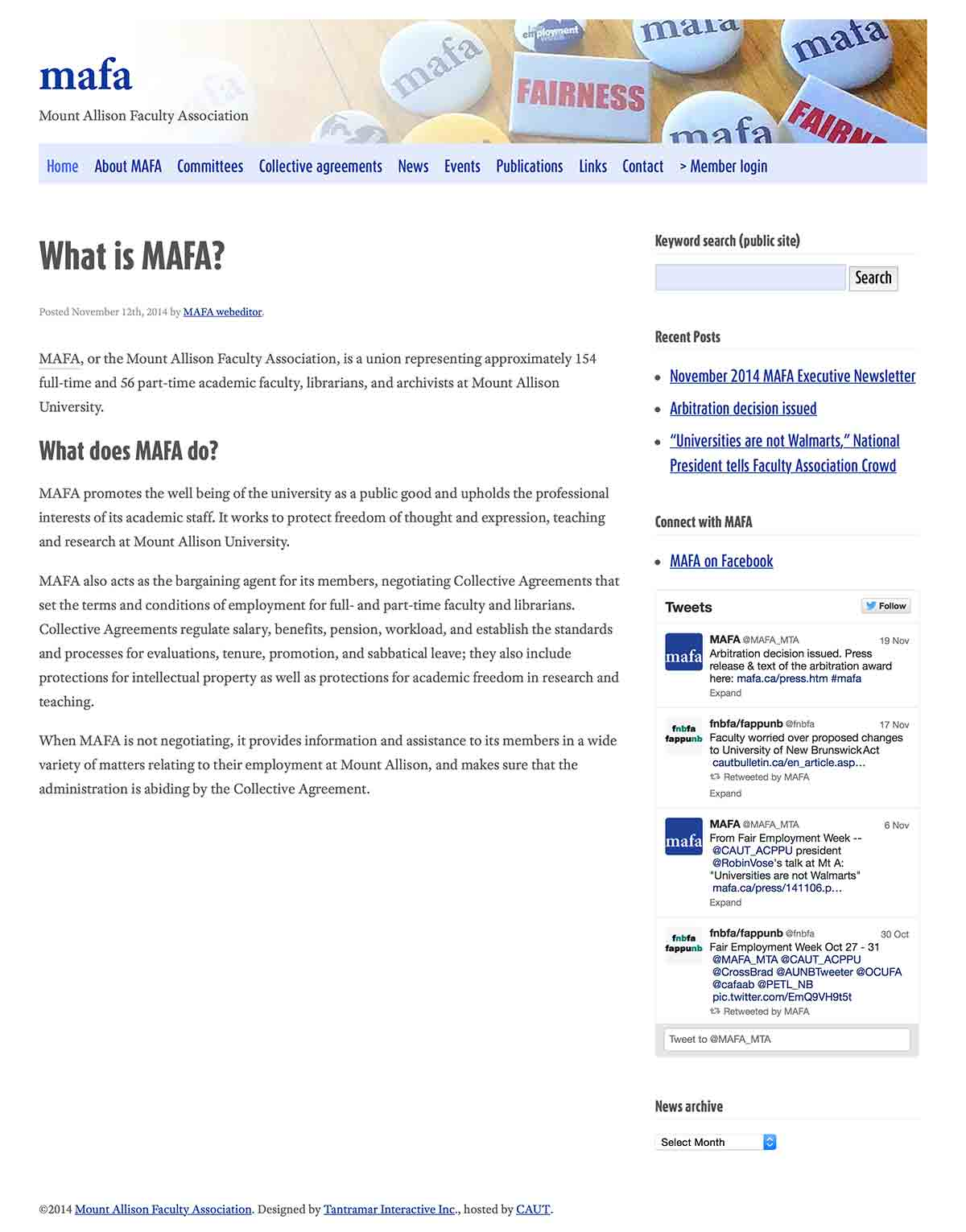 MAFA website screenshot