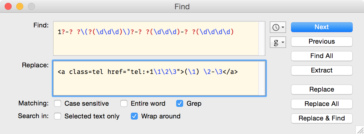 BBEdit Find… window with Grep pattern